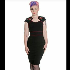 Hell Bunny Rockabilly Hibiscus Wiggle Dress NWT
